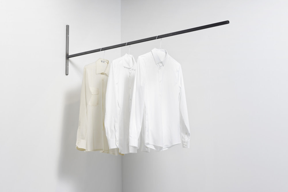 Charbel-joseph H. Boutros  THREE ABSTRACTIONS ON THREE HISTORIES 2016 Three white shirts, metallic structure, time Dimensions variable