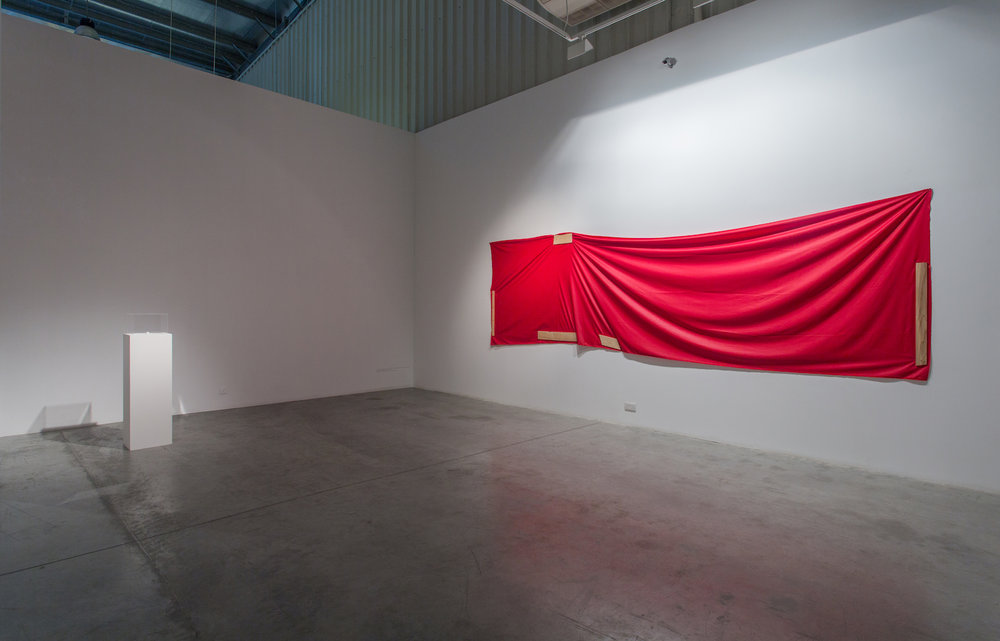 Stéphanie Saadé  Re-Enactment LB/ Red Cloth 2013 Cloth, wood, screws 155 x 515 cm