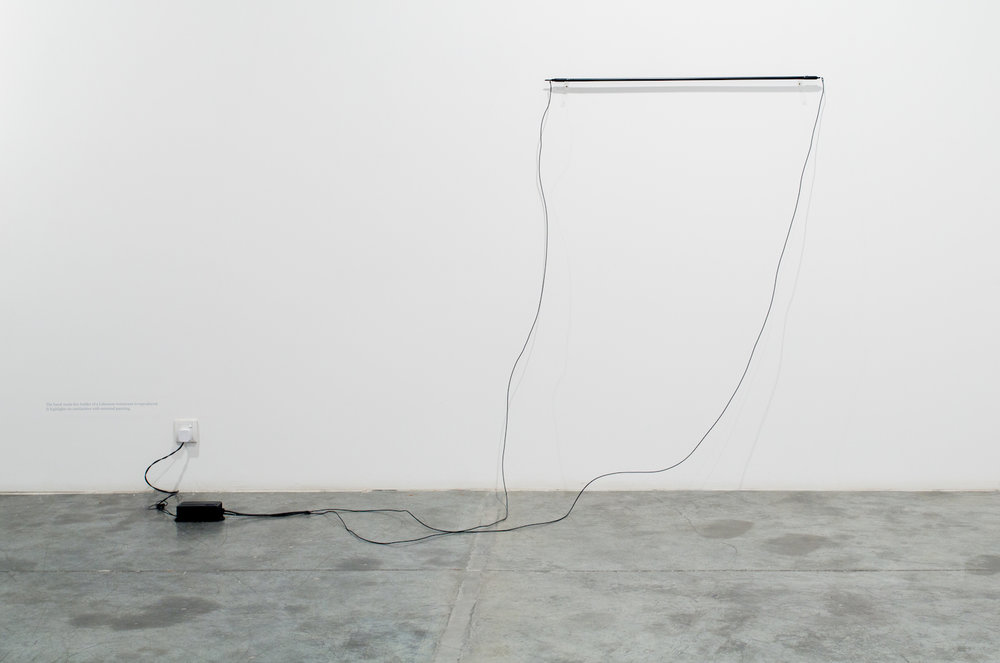 Charbel-joseph H. Boutros  Neon enclosing its own light 2013 Electric neon, black paint, light Variable dimensions