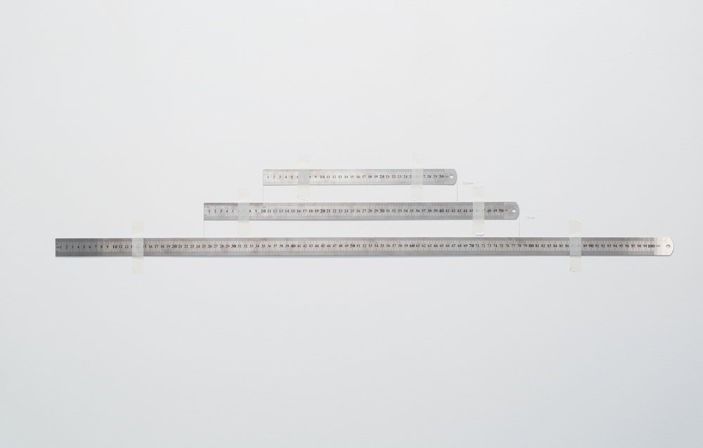 Charbel-joseph H. Boutros  Measuring the measure 2011 Three different metallic rulers, scotch tapes Variable dimensions Edition 1/3