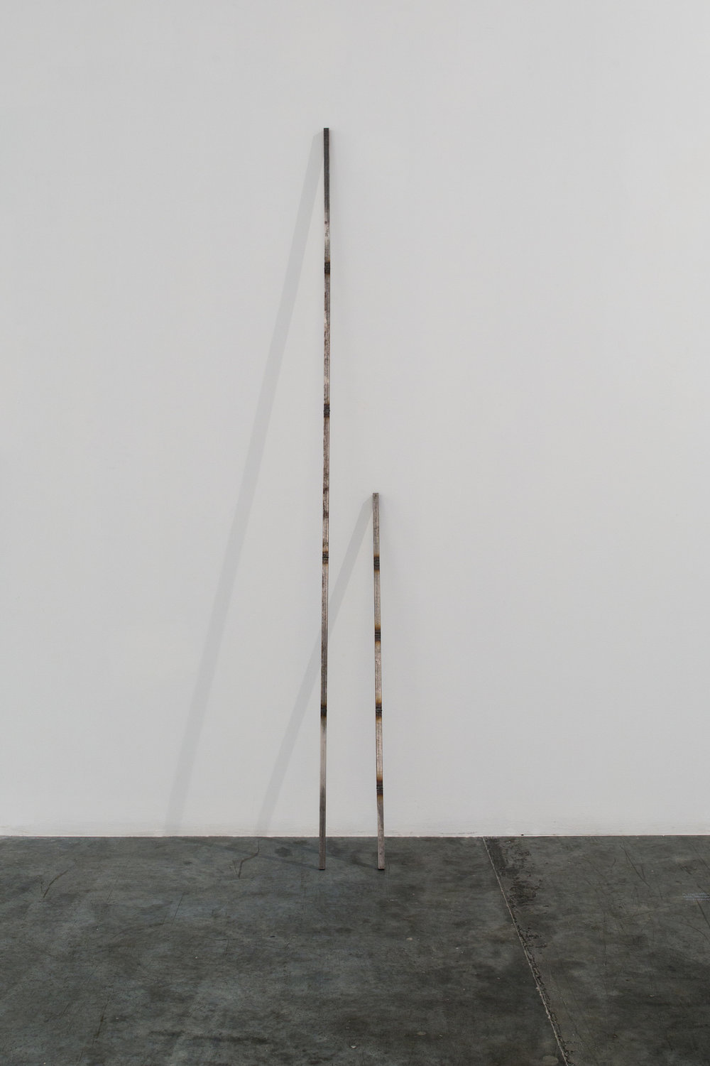 Stéphanie Saadé  Scarred Object 2013 Cut and welded varnished iron bars 1.5 x 1.5 x 100 cm and 1.5 x 1.5 x 200 cm Edition 1/3