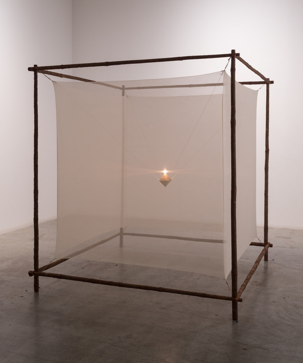 Hossien Valamanesh  Light Within II 1982 Wood, fabric, ceramic, oil burner 182 x 182 x 182 cm
