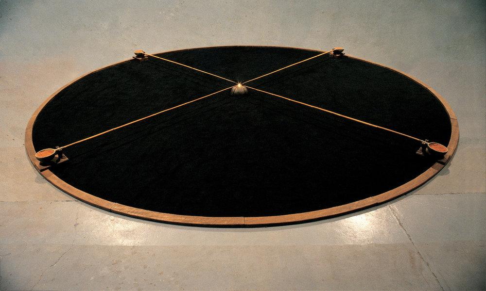 Hossein Valamanesh  The Untouchable 1984 Wood, ceramic, bamboo, sand, black hessian, oil burner 500 x 15 cm