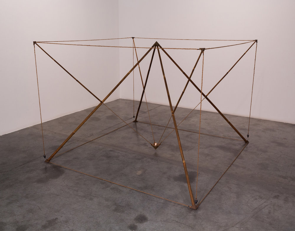 Pyramids with Light 1982 Bamboo, rope, ceramic, oil burner 185 x 185 x 128 cm