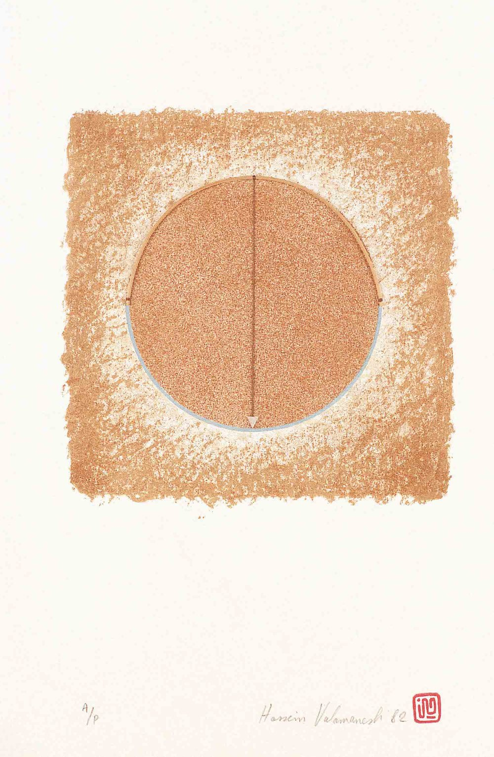 Untitled 1982 Lithograph with cane and pendulum 89.5 x 68 cm Edition: A/P 2