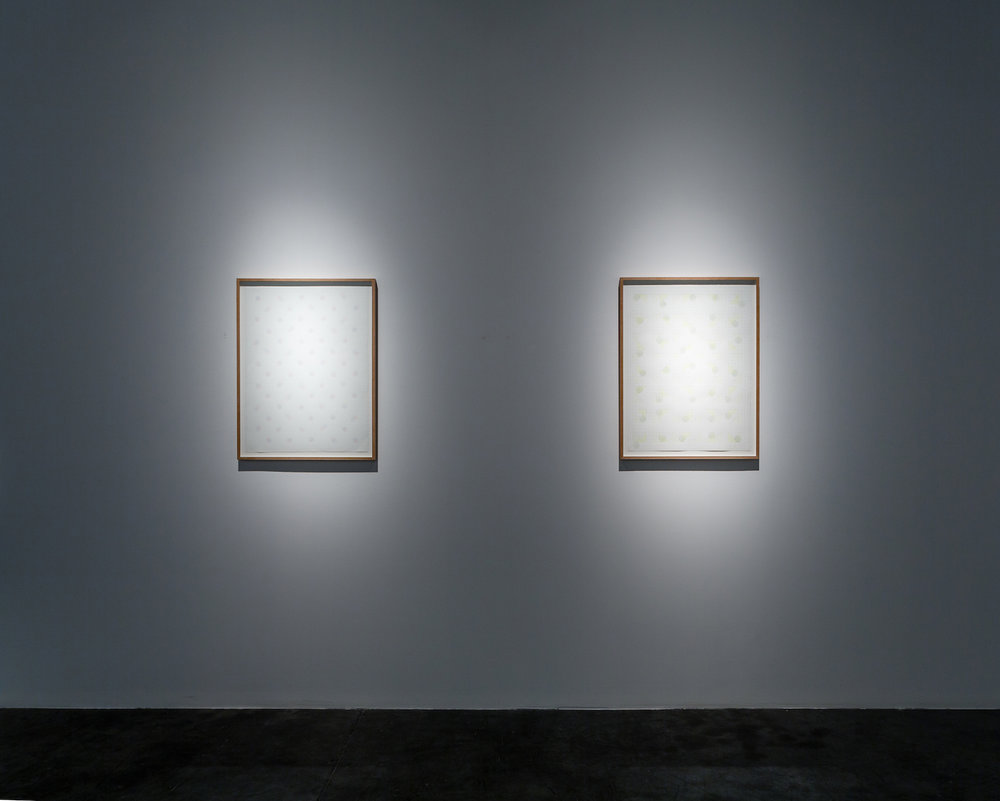 LEFT - RIGHT  LEFT: Dawn, 2015, acrylics and pencil on paper, 76 x 56 cm   RIGHT: Noon, 2015, acrylics and pencil on paper, 76 x 56 cm