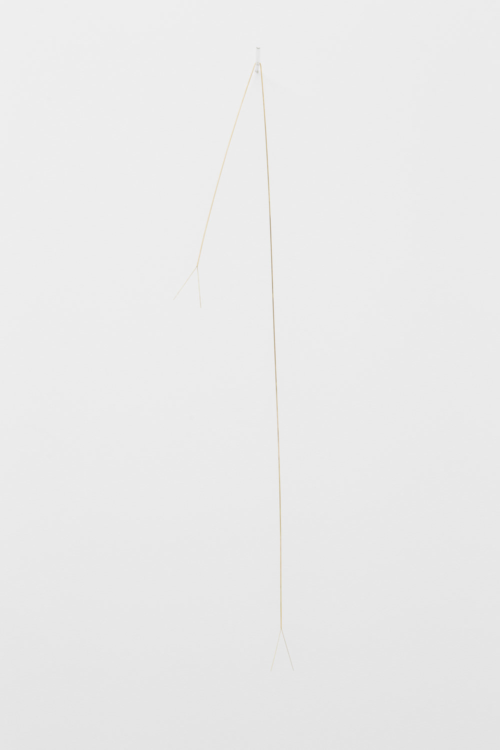 Joana Escoval  Using what you have to remember what you saw (III)  2018 Gold, glass Approx., 70 x 12 x 14 cm Unique