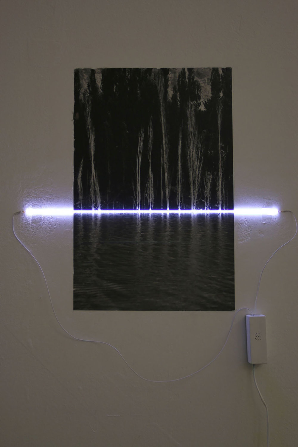Iqra Tanveer  Fall 2017 Inkjet print transfer on wall, cathode light 30 x 45 cm