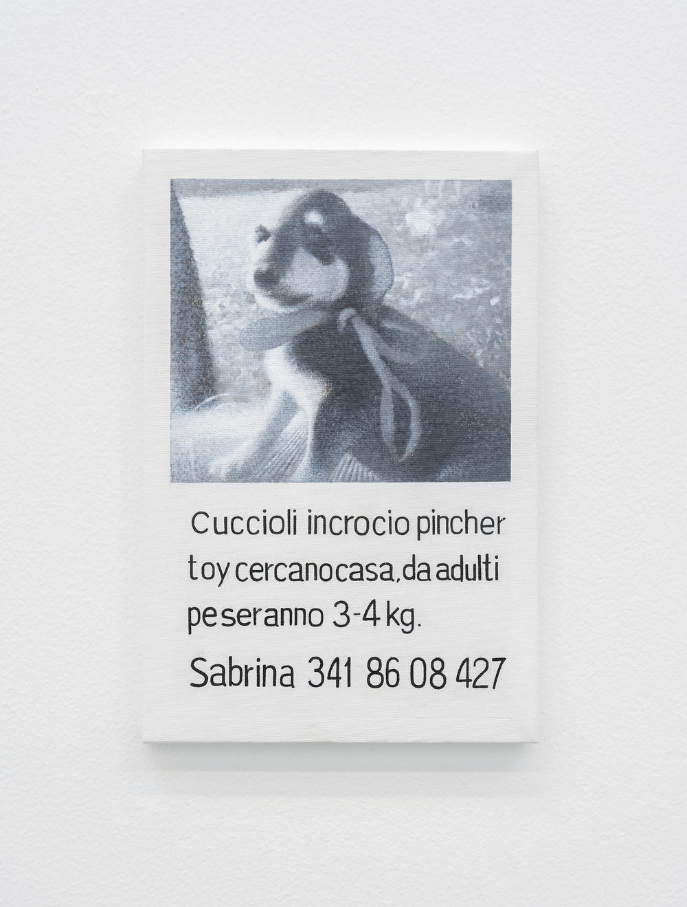 CUCCIOLO 2018 Oil on canvas Painting of a poster found in Venice Advertising puppies for adoption 30 x 20.2 cm