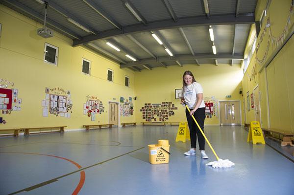 Nottingham School cleaning Mopping school sports hall floor