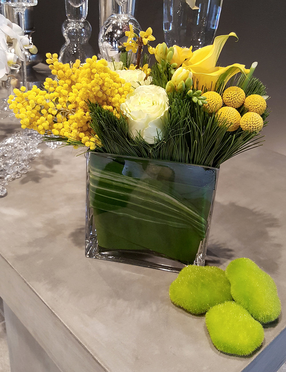 Yellow and white flower arrangement for office and restaurants