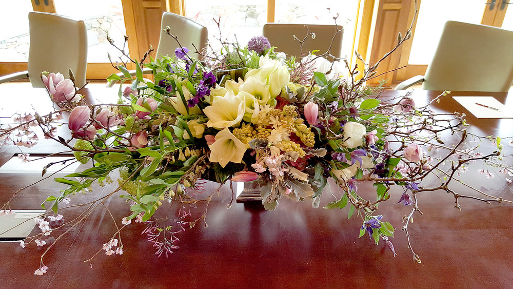 Corporate florals to add to conference table decor