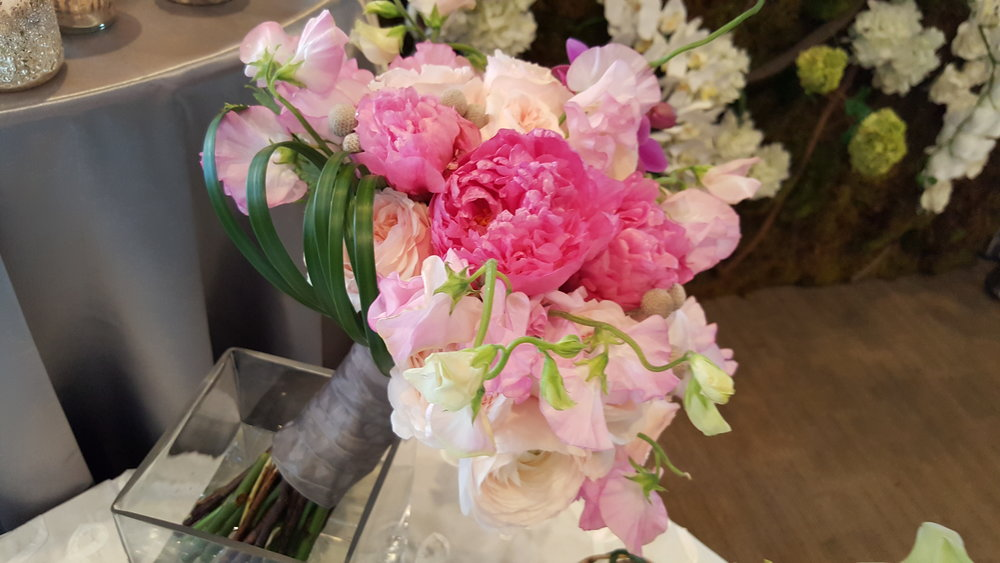 Pink peonies in a beautiful bouquets of flowers for a wedding