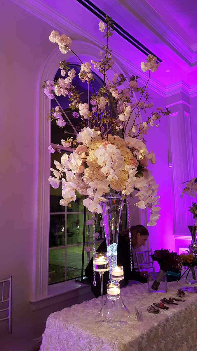 Exotic flowers in vase for a wedding reception