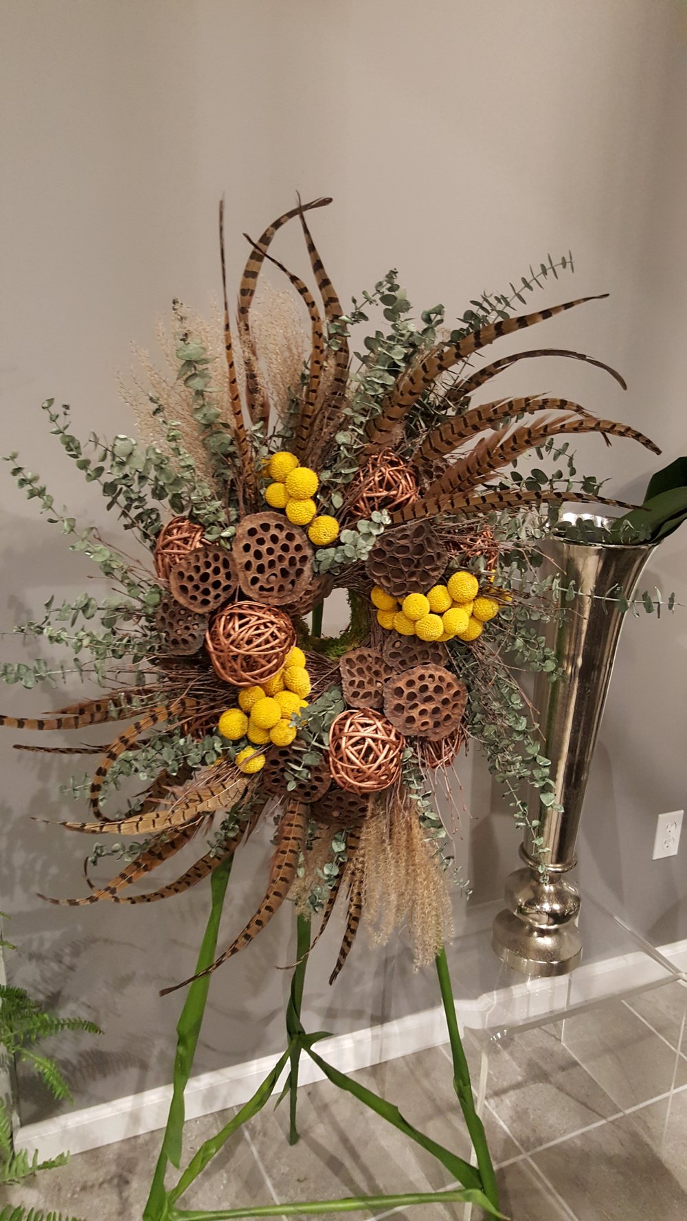 Exotic floral wreath for home decor.