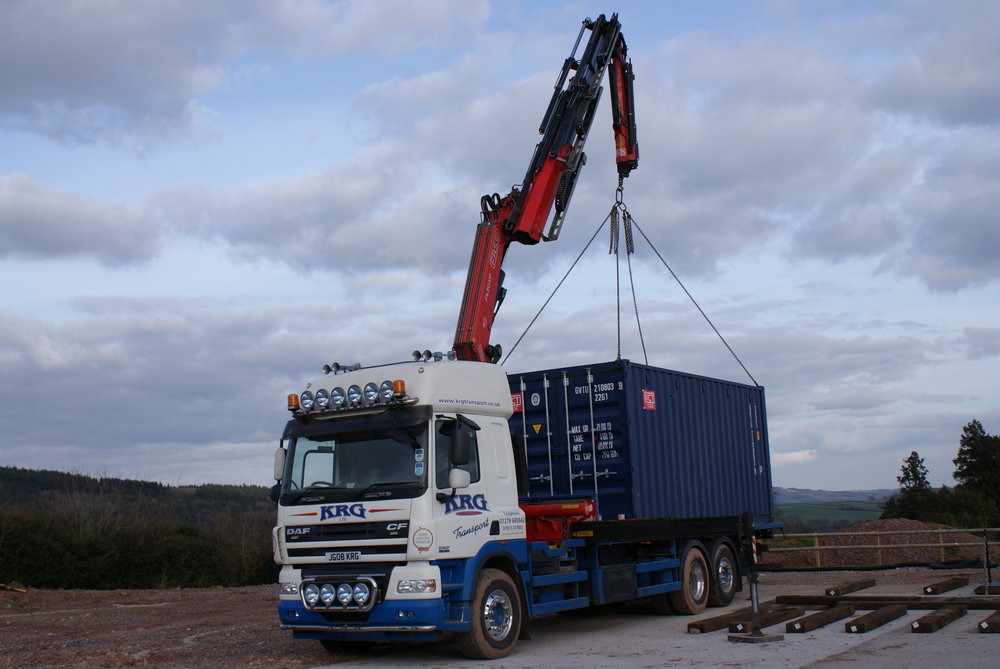 Digesters lifted by HIAB lorry or crane