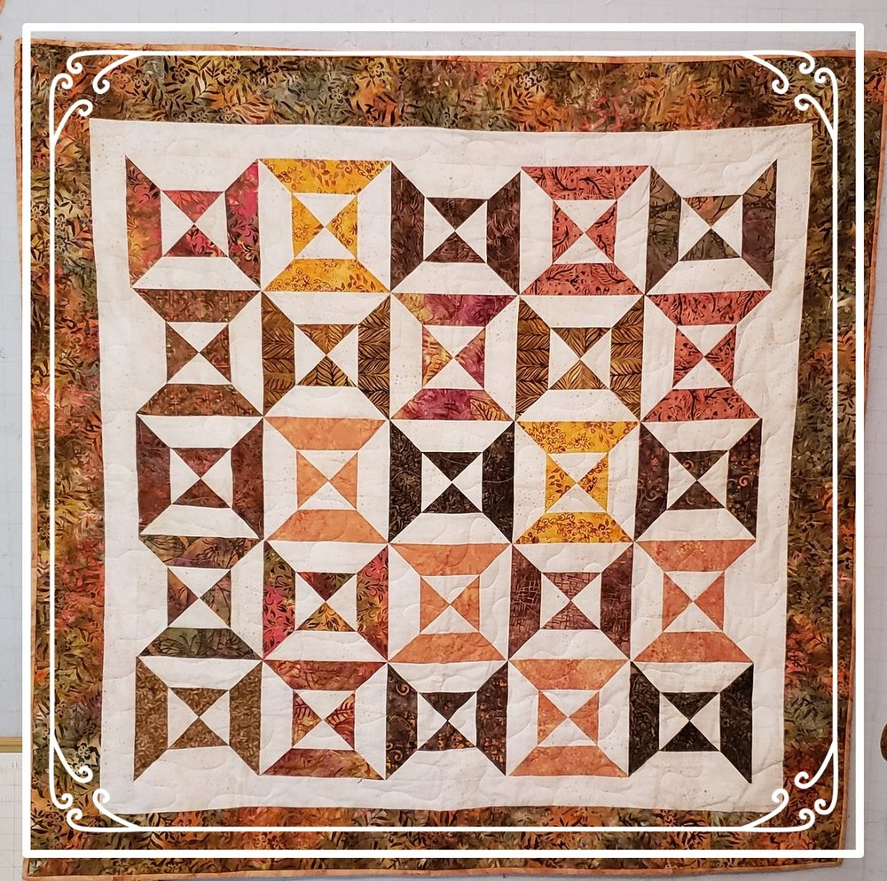 "THIS QUILT CAN BE USED AS A WALL OR LAP QUILT.    MACHINE QUILTED WITH HAND-SEWN BINDING.    SIZE IS 50""X 50""    Tickets are $3.00 each or 2 for $5.00    Available starting October 14, 2018 after service and during Free spaghetti dinners.    The drawing will be held Sunday, 25 November during the Free Spaghetti dinner    Contact Sandy Devan at    bloominggroveweb@gmail.com    Phone: 518-944-7176"