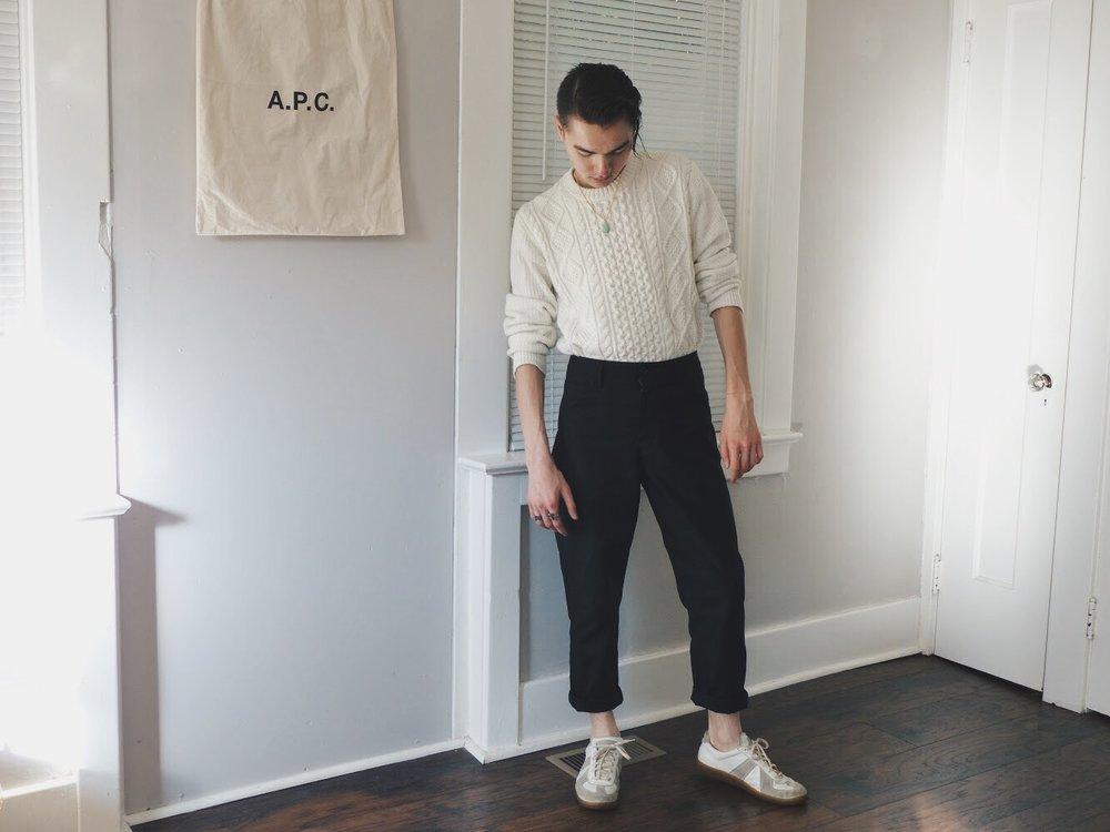 Wearing:   Uniqlo Sweater  Acne Studios Trousers  Maison Margiela Trainers