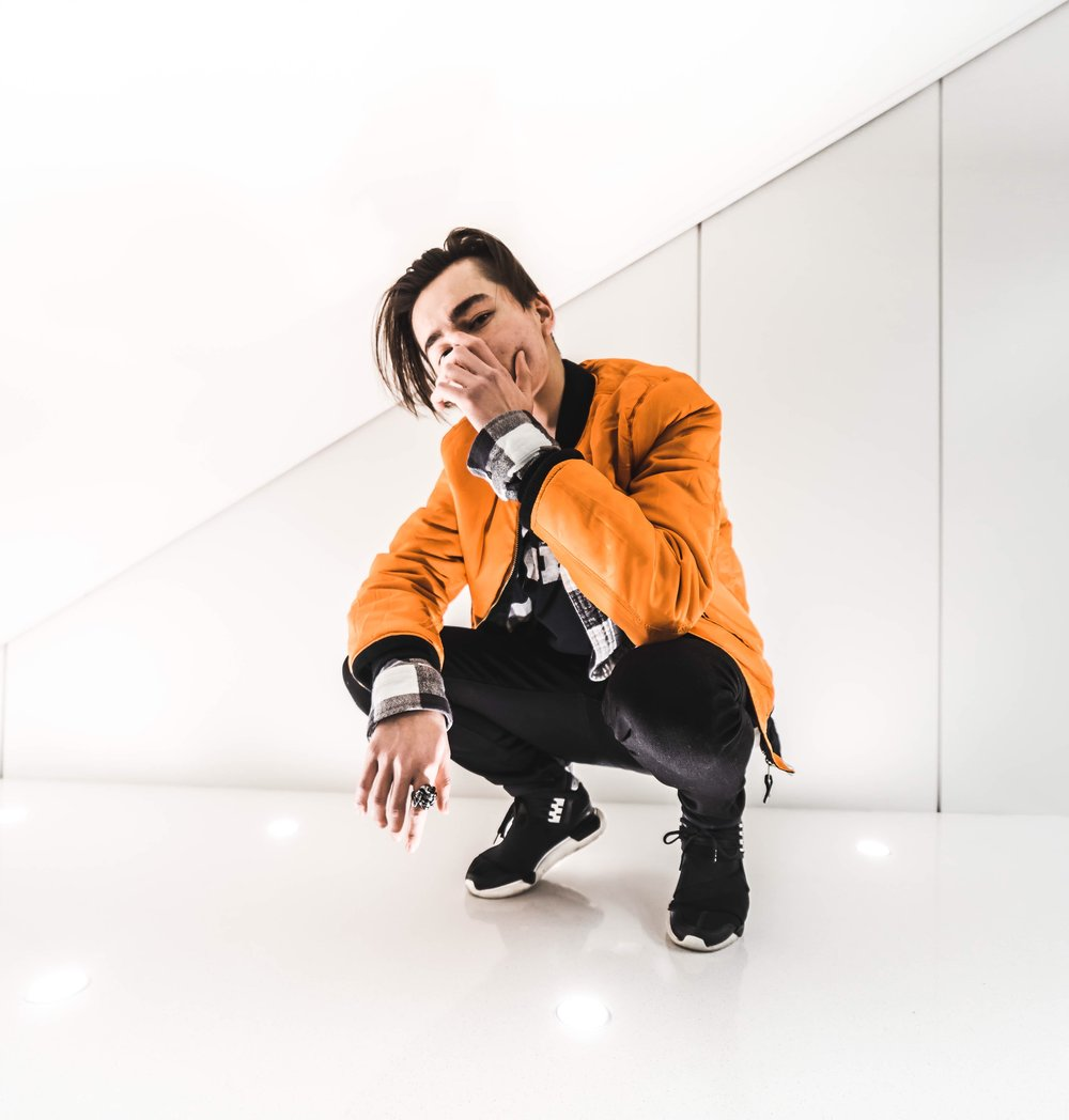 Wearing :  Alpha Industries Bomber  Off White T-Shirt  Y3 Qasa High Sneakers  Photo by Adam Zarowny.