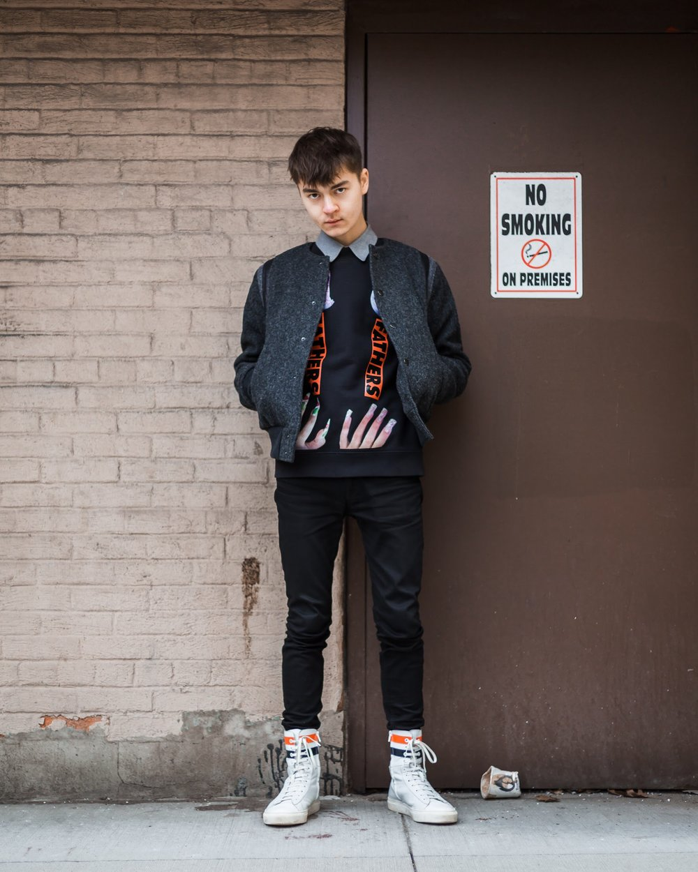 Wearing:   Dries Van Noten Jacket  Raf Simons x Sterling Ruby Sweater  Acne Studios Denim  Raf Simons Boots  Photo by Adam Zarowny