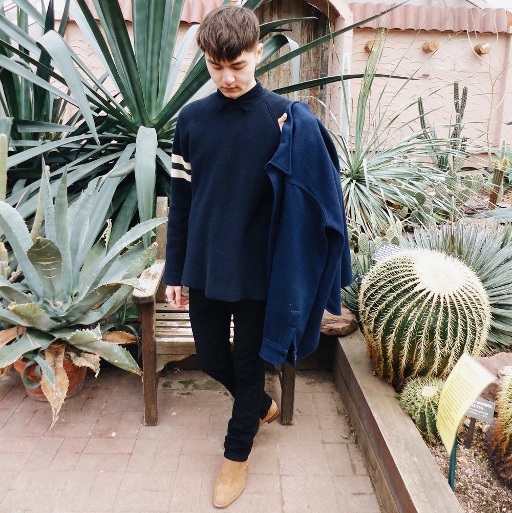 Wearing:   Vintage Sweater  APC Trousers  Saint Laurent Paris Boots  Photo by Oona McCormack