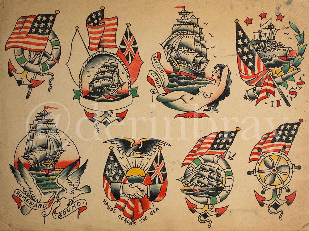 Tattoo Flash by Cap Coleman, Norfolk, VA, ca. 1930
