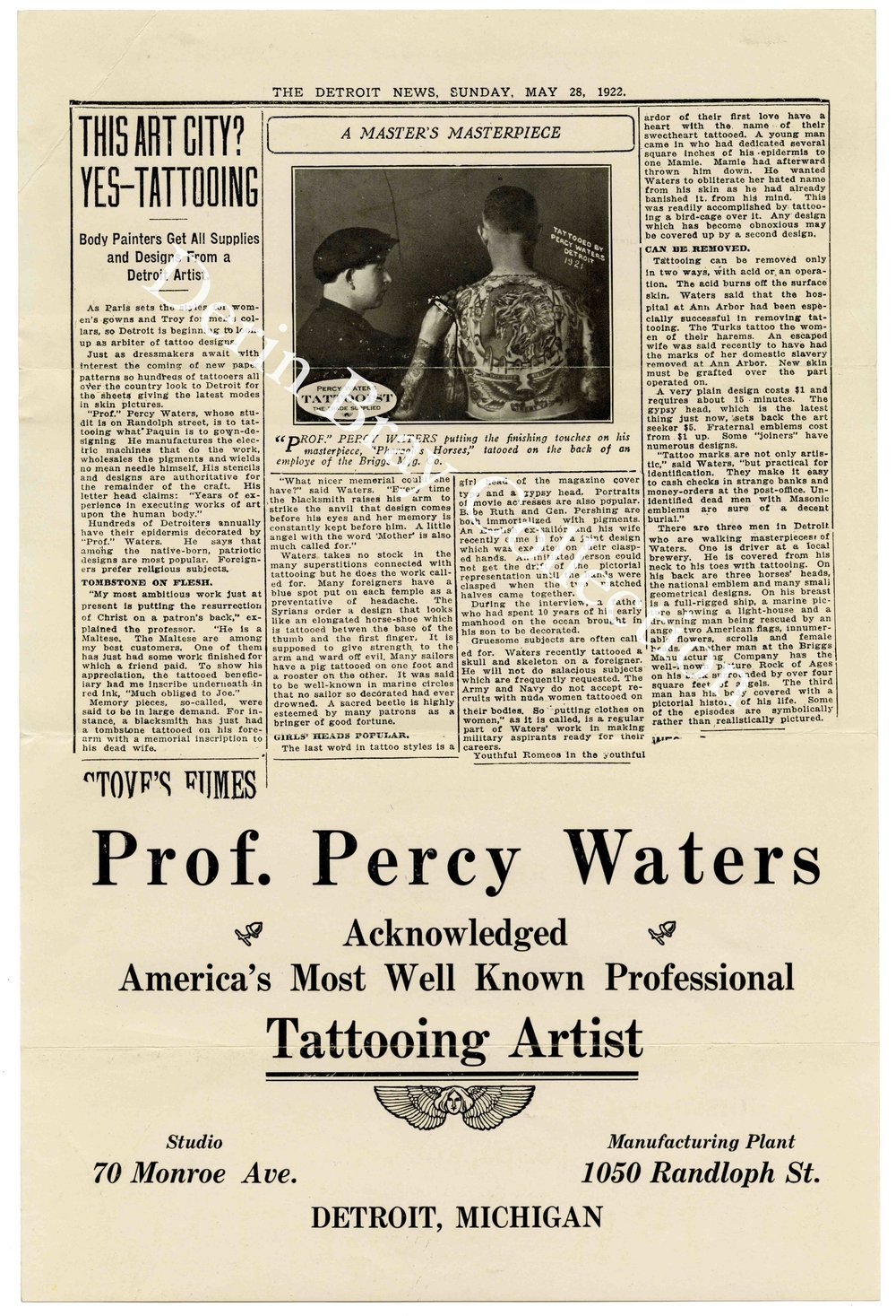 Promotional Flyer for tattoo artist and supplier Percy Waters, Detroit, ca. 1922.  Derin Bray Collection