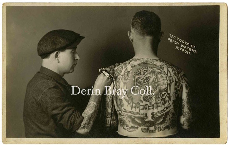 "Percy Waters tattooing Egbertus Jan ""Dutch"" Berghege, photo postcard, Detroit ca. 1921.  Derin Bray Collection"