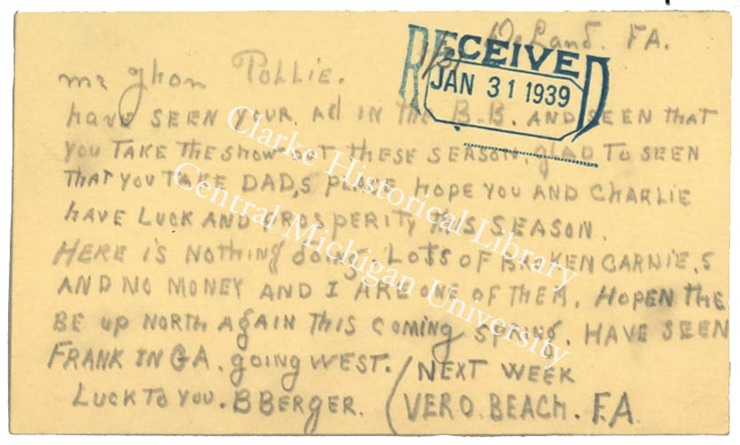 Postcard from Egbertus Jan Berghege, AKA Bert Berger, to John Pollie, January 1939.  Clarke Historical Library, Central Michigan University