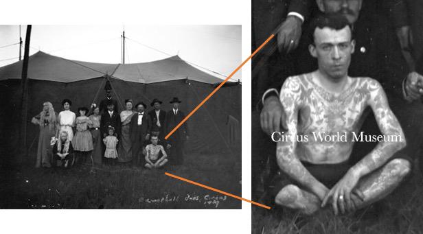 Joseph Harkin, aka Barney Kruntz, with Campbell Bros. Circus, 1909, by Frank Carney.  Courtesy of Circus World Museum