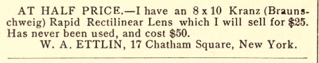 An advertisement for W. A. Ettlin, 17 Chatham Square, New York.  The Photographic Times , 1892.