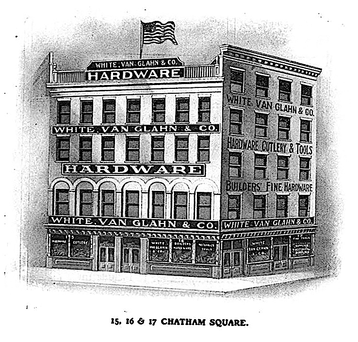 William Ettlin's photo studio was located on the top floor of the White, Van Glahn & Co. hardware store. The building (and Ettlin's studio) stretched from 17 Chatham Square to 8 Catherine Street.  White, Van Glahn & Co. Illustrated Catalogue and Price List , 1902.
