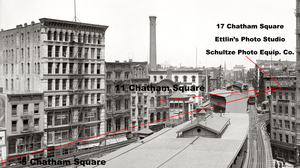 "Detroit Publishing Co., Publisher. ""L"" Station, Chatham Square, New York. United States, 1905. [?] Photograph. https://www.loc.gov/item/2016805354/."