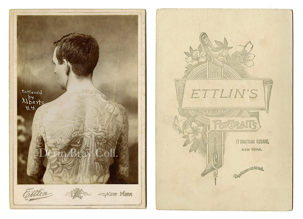 """William Partridge, Tattooed by Lew Alberts. """"Tattooed by Alberts, N. Y.,"""" Cabinet Card Photograph by William Ettlin, Ettlin's Portraits, 17 Chatham Square, New York, ca. 1905.  Derin Bray Collection"""