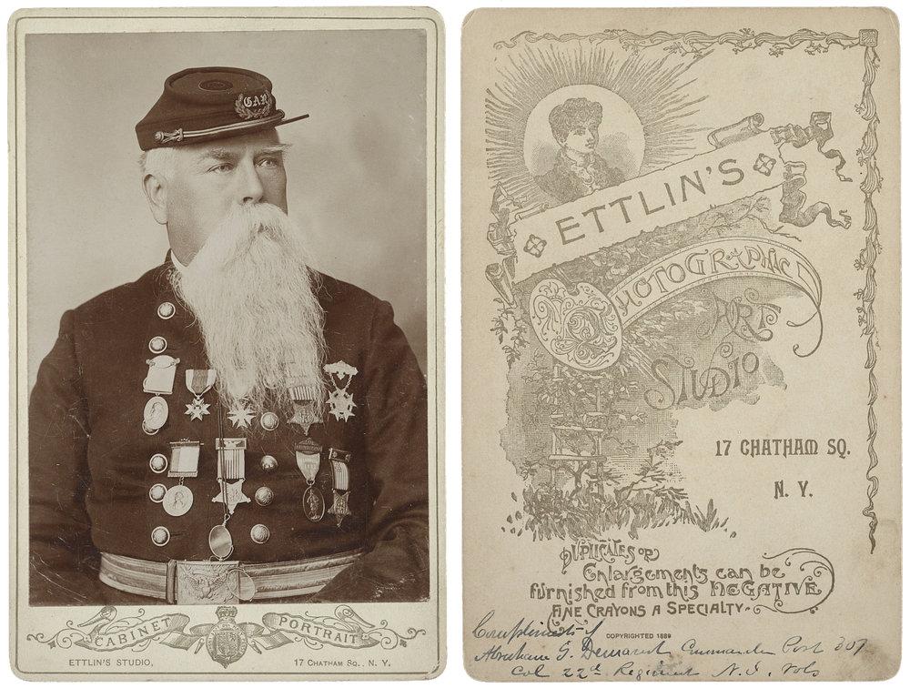 Ettlin's Photographic Studio, photographer.  Civil War veteran Abraham G. Demarest / Ettlin's Studio, 17 Chatham Sq., N.Y. ; Ettlin's Photographic Art Studio, 17 Chatham Sq., N.Y . United States, None. [New york: ettlin's photographic art studio, 17 chatham sq., between 1889 and 1900] Photograph. https://www.loc.gov/item/2017659663/.