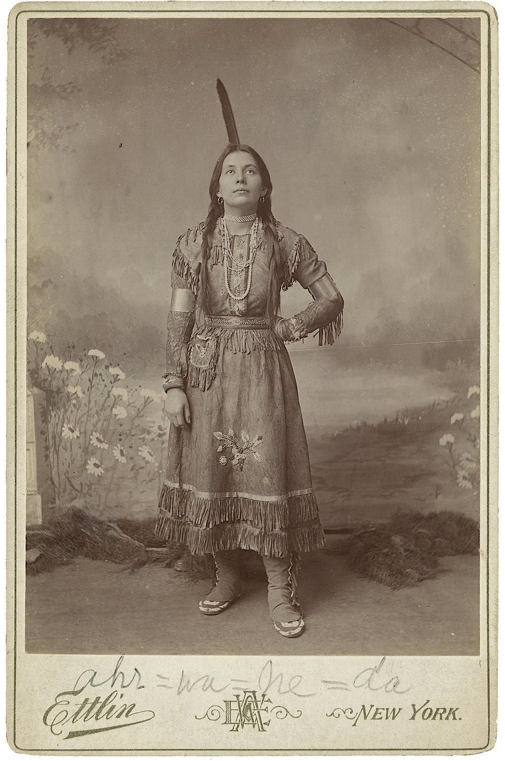 Performer in Native American Costume. Cabinet Card Photograph by W. A. Ettlin, Ettlin's Portraits, 17 Chatham Square, New York, ca. 1905.  Courtesy of Heritage Auctions