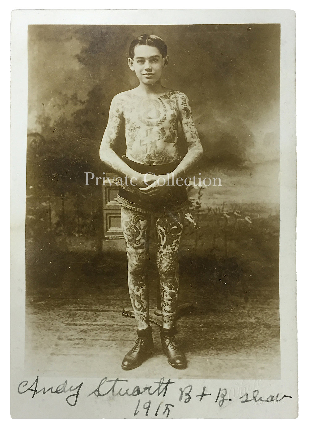 Andy Stuertz, Tattooed by Charlie Wagner, Photograph by White's Studio, 105 4th Avenue, New York, Duplicated From a Cabinet Card Photograph by William Ettlin, 17 Chatham Square, New York, ca. 1907.  Private Collection