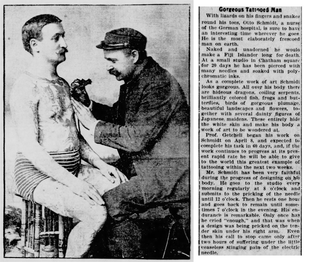 Elmer Getchell Tattooing Otto Schmidt, Photograph by William Ettlin, 17 Chatham Square, New York. (L)  New York Tribune Illustrated Supplement , April 26, 1902. (R)  The Shreveport Times , May 28, 1902.