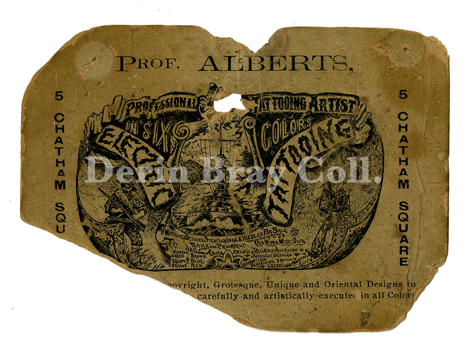 Prof. Alberts Business Card, 5 Chatham Square, New York, ca. 1904.  Collection of Derin Bray