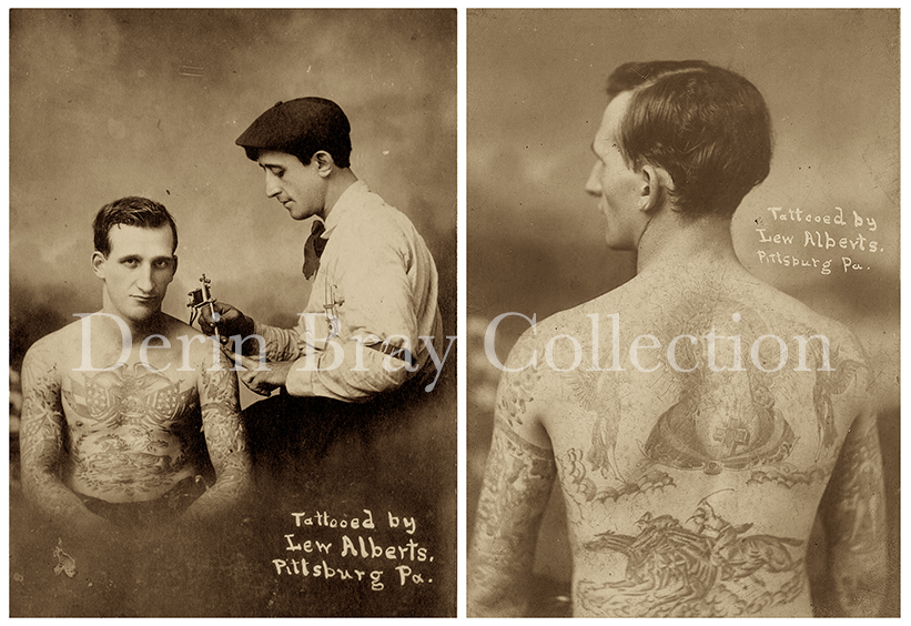 """Lew Alberts and One of His Tattooed Attractions, Possibly Harry Lawson. L) """"Tattooed by Lew Alberts, Pittsburg[h] Pa.,"""" Detail of a Real Photo Postcard (RPPC) Duplicated From a Cabinet Card Photograph by William Ettlin. R) Tattooed by Lew Alberts, Pittsburg[h] PA,"""" Detail of a Cabinet Card Photograph by William Ettlin, Ettlin's Portraits, 17 Chatham Square, New York, ca. 1906.  Collection of Derin Bray"""