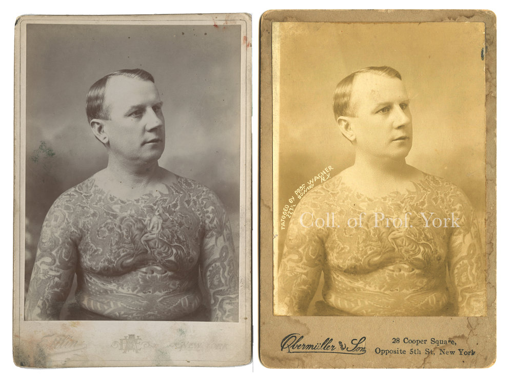 """L) Ed Greenwood, Tattooed by Charlie Wagner and Lew Alberts, Cabinet Card Photograph by William Ettlin, Ettlin's Portraits, 17 Chatham Square, New York, ca. 1903.  Harry Ransom Center, The University of Texas at Austin.  R) """"Tat[t]ooed by Prof. Wagner, 223 1/2 Bowery, N.Y.,"""" Cabinet Card Photograph of Ed Greenwood by William Ettlin, Duplicated by Obermuller and Son, 28 Cooper Square, Opposite 5th St, New York, ca. 1905.   Collection of Prof. York"""
