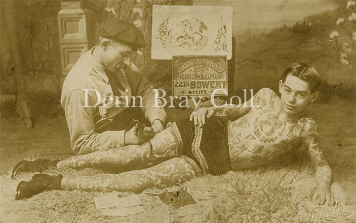 Charlie Wagner Tattooing Andy Stuertz, Photograph by White's Studio, 105 4th Avenue, New York, Duplicated From a Cabinet Card Photograph by William Ettlin, 17 Chatham Square, New York, ca. 1907.  Collection of Derin Bray