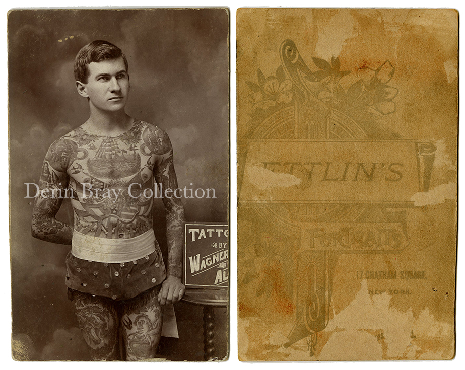 """Jack Tryon, Tattooed by Charlie Wagner and Lew Alberts. """"Tattooed by Wagner and Alberts, Chatham Sq., N.Y.,"""" Cabinet Card Photograph (trimmed), by William Ettlin, Ettlin's Portraits, 17 Chatham Square, New York, ca. 1909.  Derin Bray Collection"""