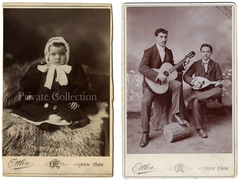 L) Cabinet Card Photographs, by William Ettlin, 17 Chatham Square, New York, ca. 1905.  Private Collection.  R) Cabinet Card Photographs, by William Ettlin, 17 Chatham Square, New York, ca. 1905.  Courtesy of Worthpoint