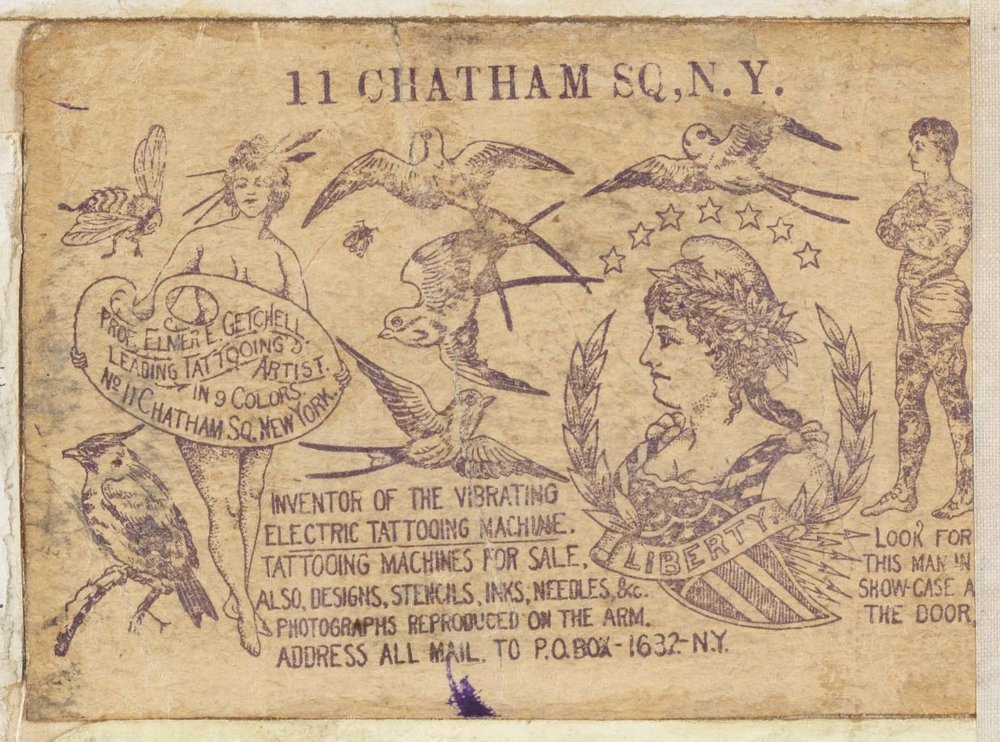 """Elmer E. Getchell business card from """"Souvenirs of the Travels and Experiences of the Original Gus. Wagner Globe Trotter & Tattoo Artist"""" scrapbook, ca.1897-1941. The Alan Govenar and Kaleta Doolin Tattoo Collection at South Street Seaport Museum, New York. (2001.039.0023)"""