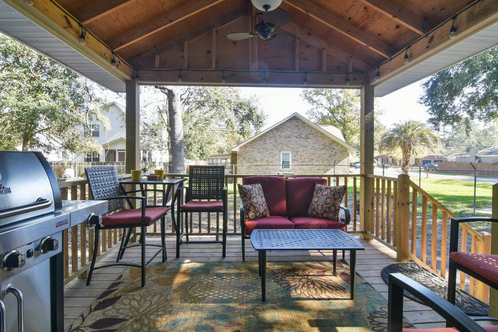 PROJECT : Deck with overhang, James Island   DETAILS : Built deck, added overhang, installed ceiling fan & steps to backyard