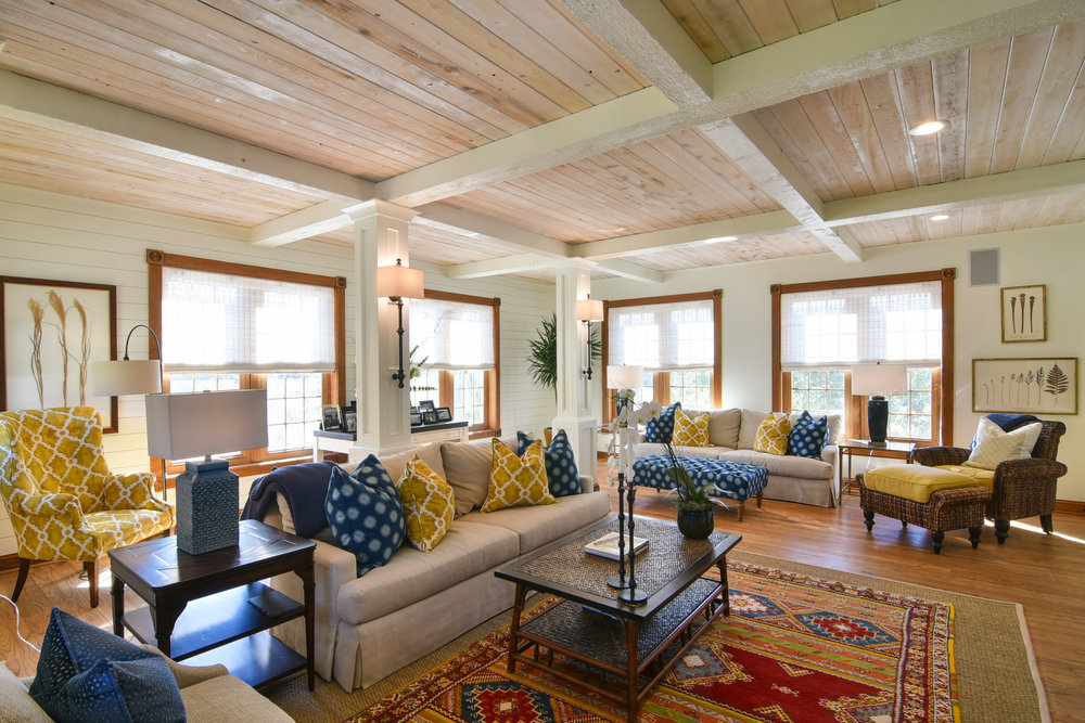 PROJECT : Upgraded living area, Johns Island   DETAILS : Added shiplap walls, coffered ceilings, & columns