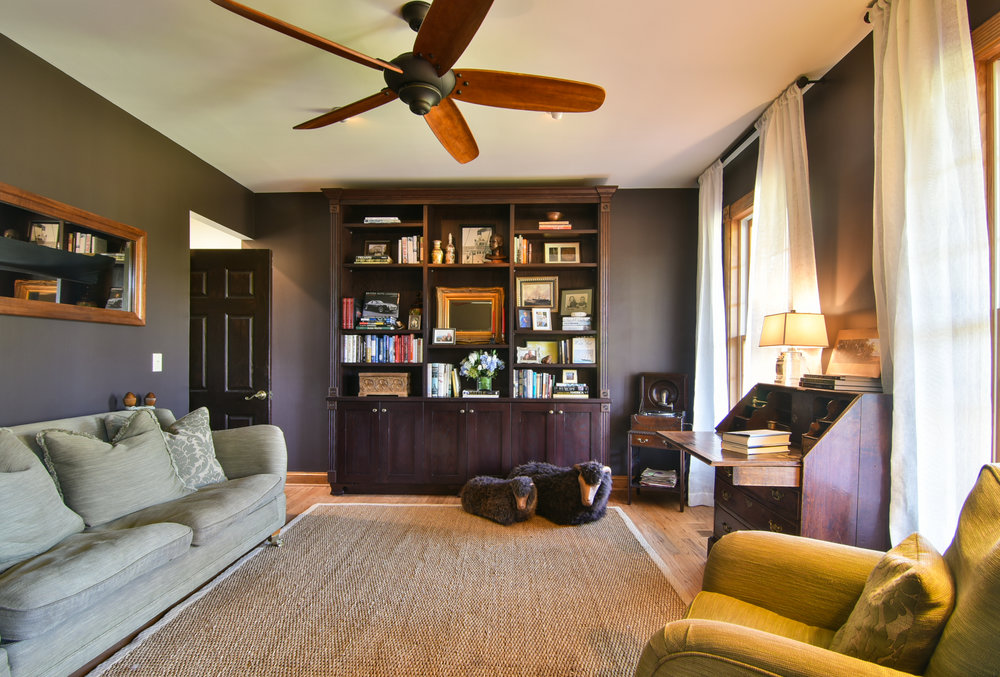 PROJECT : Updated home office, Johns Island   DETAILS : Fresh wall paint &installed ceiling fan