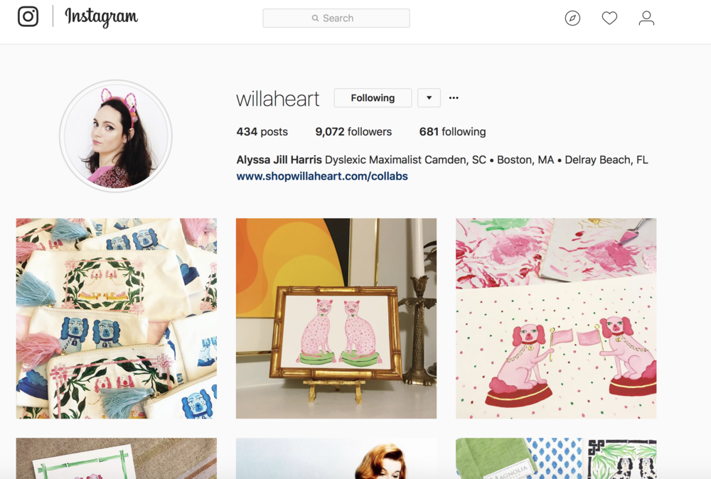 click to follow @willaheart on instagram