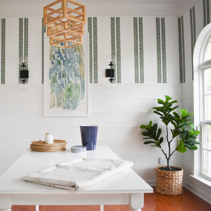 accessories for a modern dining room navy and white.jpg